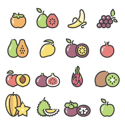 Fruits - line art icons set 2