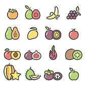 Line art icons fruit icons - part 2. Includes persimmon, banana, grapes, apple, mango, durian, kiwi, pomegranate, guava, peach, figs, pitaya (dragon fruit), mangosteen, star fruit, passion fruit, papaya