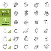 Fruits line icons. Editable stroke.