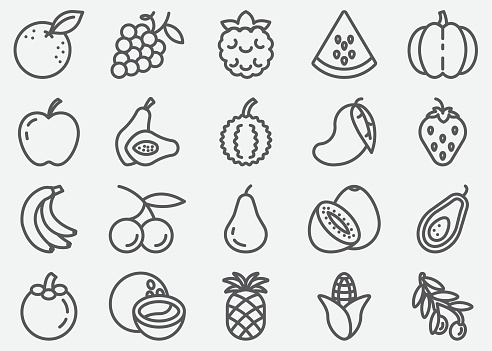 Fruits Line Icons
