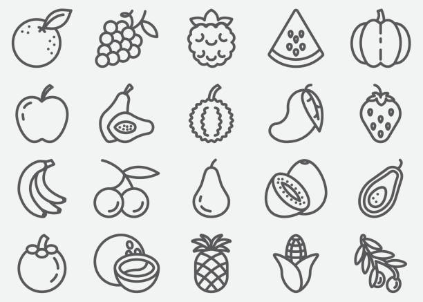 fruits line icons - fruit icon stock illustrations, clip art, cartoons, & icons
