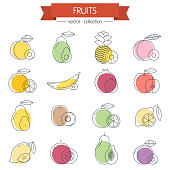 Fruits minimal thin line icons set with colorful shapes, vector illustration design elements