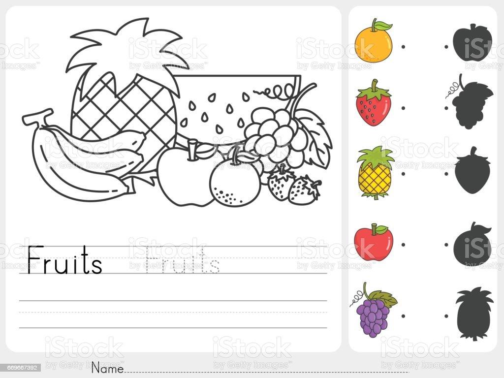 Meyve Boyama Ve Gölgeler Ilemaç Eğitim Için çalışma Sayfası Stok
