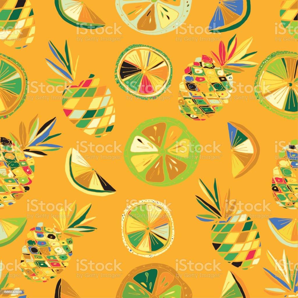 Ilustración de Patrón De Frutas Cítricos Palma De Pino Manzana Hojas ...