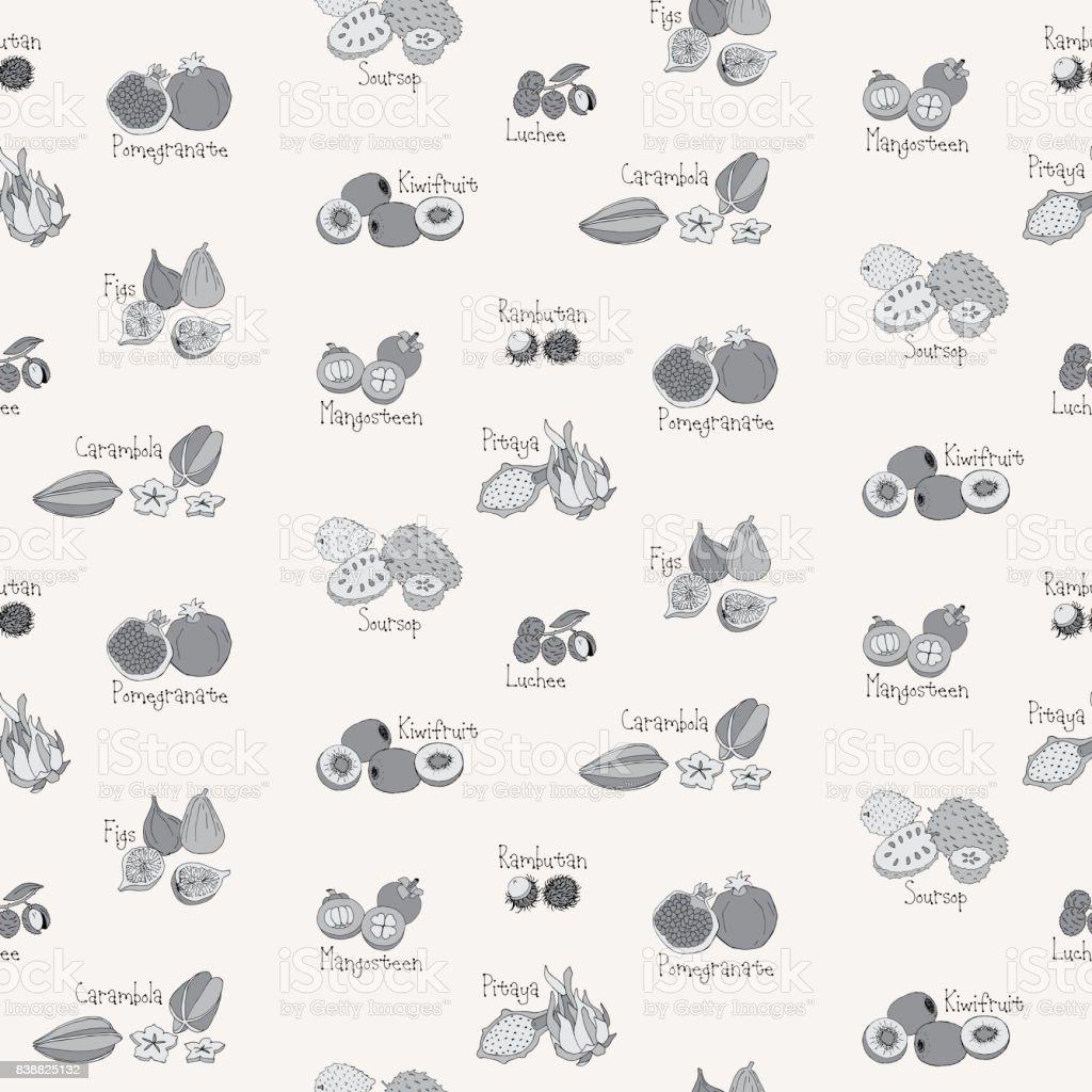 Fruits patterns vector art illustration