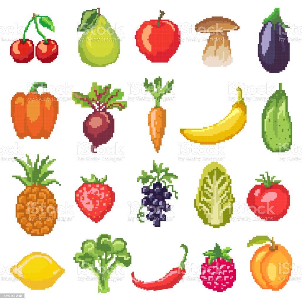 Fruits Pixel Légumes Vecteur Nutrition Saine De Fruité Pomme