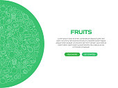 Fruits Related Banner Design with Pattern. Modern Line Style Icons Vector Illustration