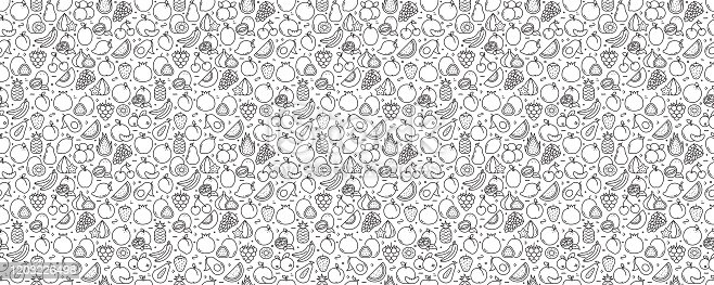Fruits Related Seamless Pattern and Background with Line Icons