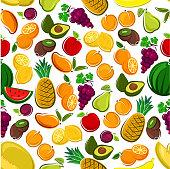 Fruits seamless background. Wallpaper with vector pattern icons of exotic and tropical fruit avocado, pineapple, apple, mango, orange, watermelon, grape, lemon, banana, plum, kiwi juice icon apricot pear
