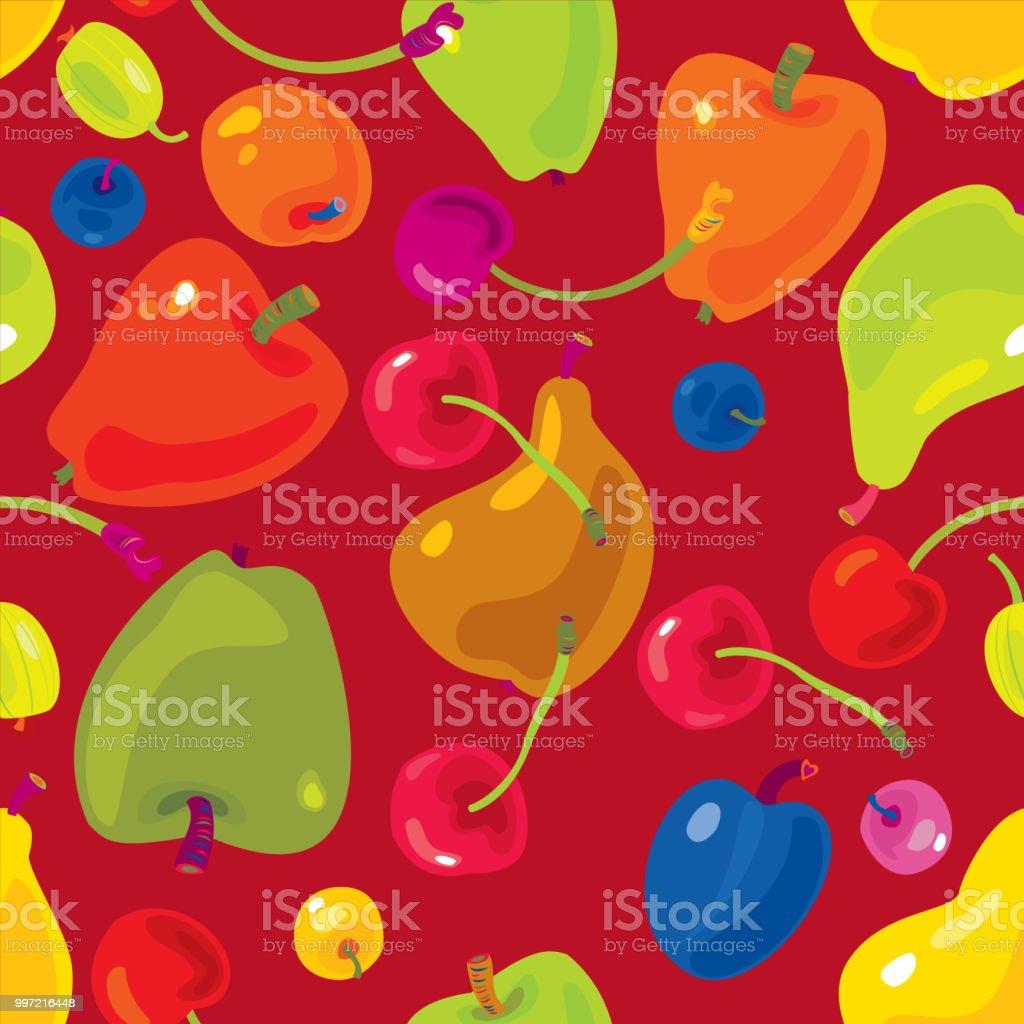 Fruits Seamless Pattern vector art illustration