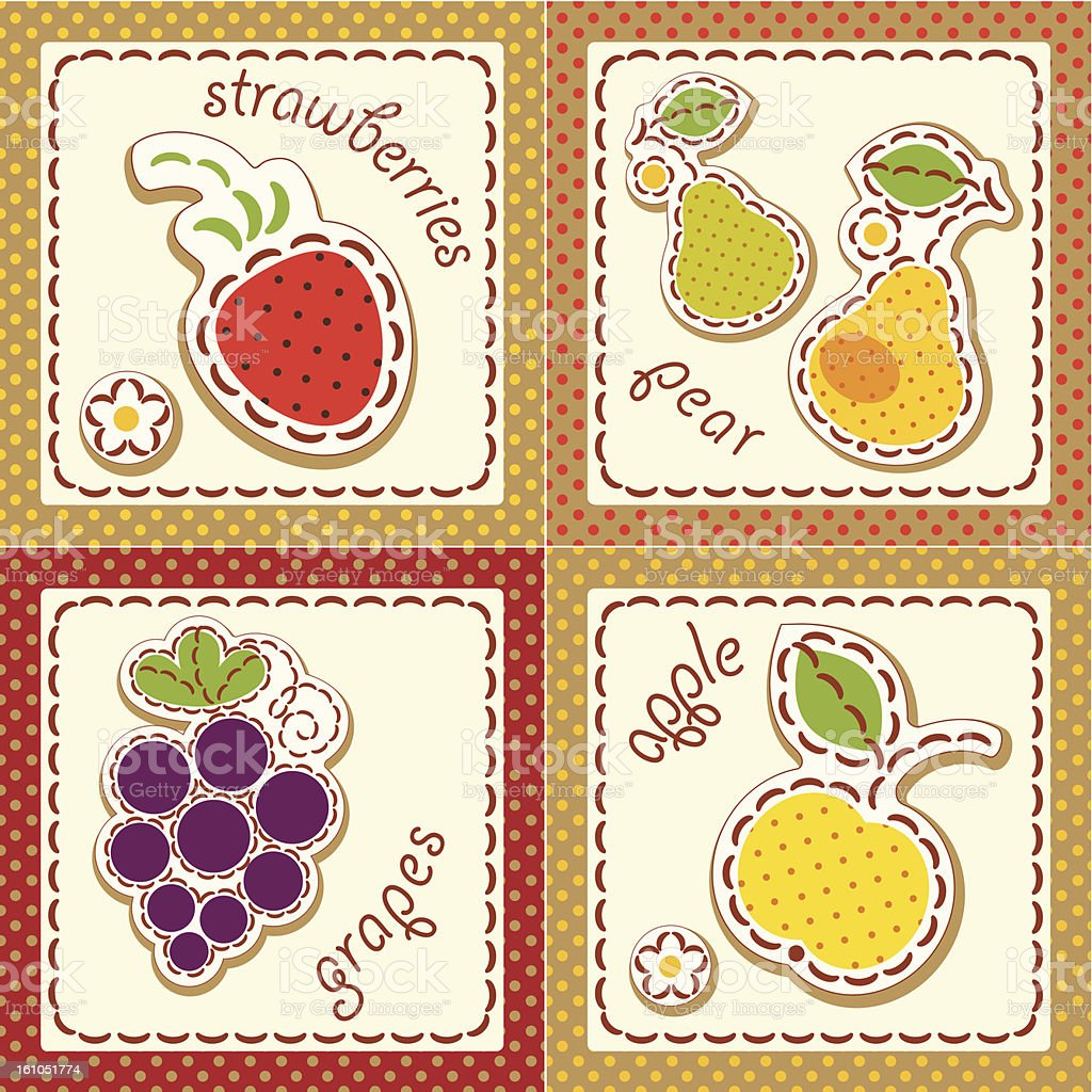 fruits. set cards royalty-free stock vector art