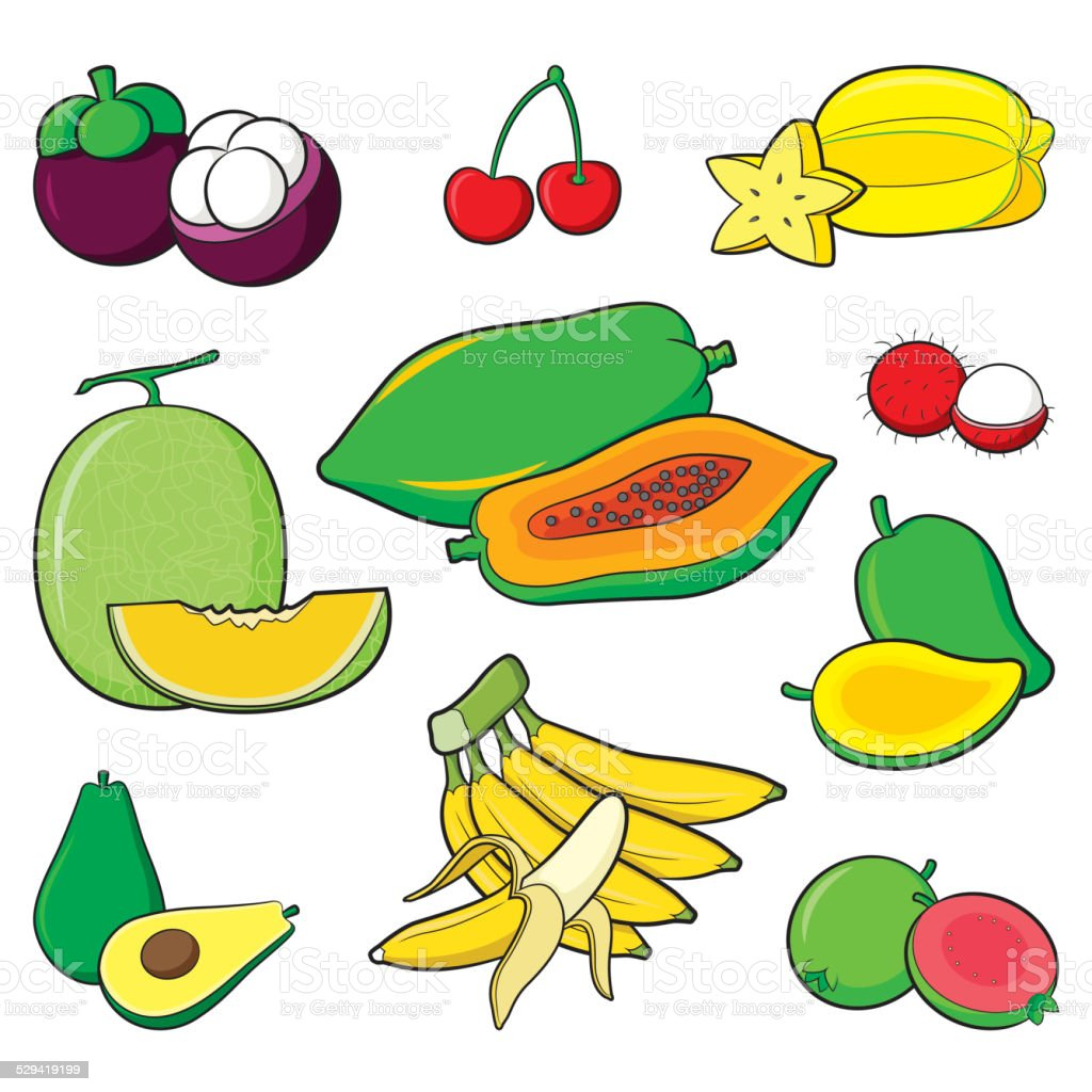 Fruits Set vector art illustration