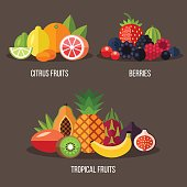 Vector illustrations of different types of fruits: citrus fruits, berries, tropical fruits. Flat style.