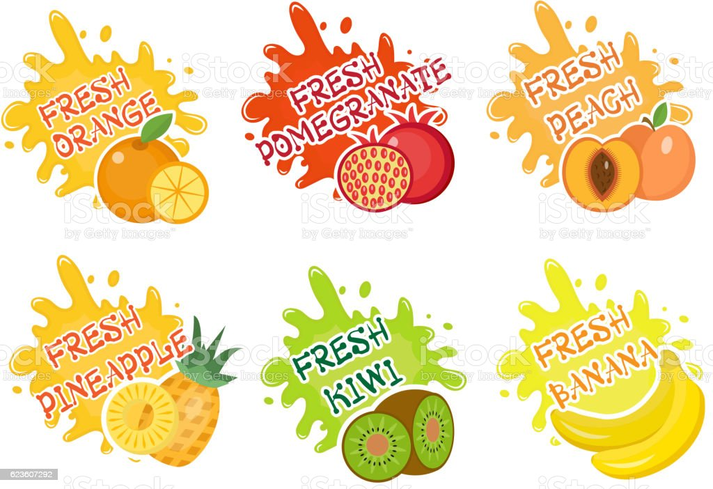 fruits splash set of labels fruit splashes drops emblem and stock rh istockphoto com