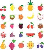 A set of fruits - cherries, a lemon, an orange, a pine-apple, an apple, a strawberry, a kiwi, an orange slice, a banana, an apple, an apricot, a raspberry, a Blackberry, barberries, a coconut, a pomegranate, a fig, a blueberry, a water melon slice, a mango, a pear, grapes, a pear, a melon, plums.