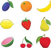Vector illustration of 9 different fruits isolated on white background. Each fruit is grouped and placed on separate layer. Linear gradients only. Document color mode: CMYK.