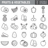 A set of fruit and vegetable editable stroke icons. File is built in the CMYK color space for optimal printing. Color swatches are global so it's easy to edit and change the colors.