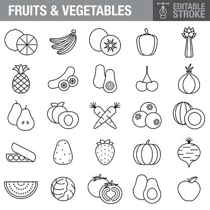 Fruits & Vegetables Editable Stroke Icon Set