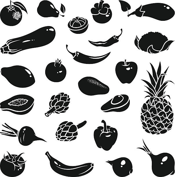 Fruits Vegetables Icons Icons of fruits and vegetables avocado silhouettes stock illustrations