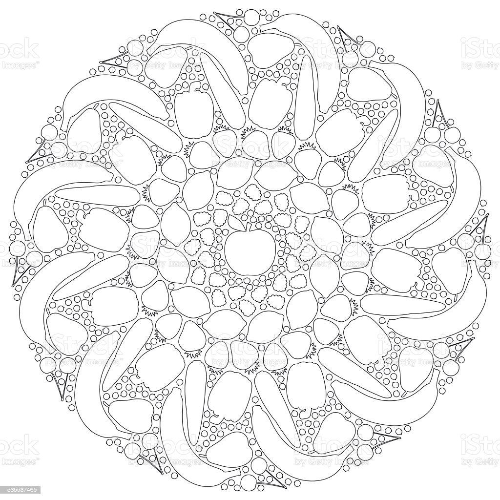 Fruits Vegetables Mandala Outline Royalty Free Stock Vector Art Amp
