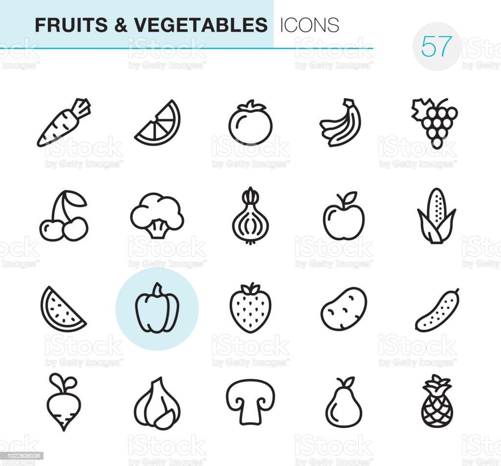Fruits Légumes Icônes Perfect Pixel Vecteurs Libres De