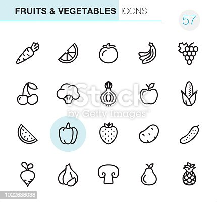 20 Outline Style - Black line - Pixel Perfect icons / Set #57  Fruits & Vegetables icons are designed in 48x48pх square, outline stroke 2px.  First row of outline icons contains:  Carrot, Orange Slice, Tomato, Bananas, Grape icon;  Second row contains:  Cherry, Broccoli, Onion, Apple-Fruit, Corn-Crop;  Third row contains:  Watermelon, Bell Pepper, Strawberry, Potato, Cucumber;   Fourth row contains:  Turnip, Garlic, Champignon, Pear, Pineapple.  Complete Primico collection - https://www.istockphoto.com/collaboration/boards/NQPVdXl6m0W6Zy5mWYkSyw