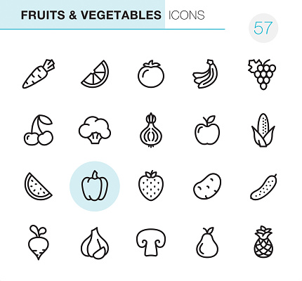 Fruits Vegetables Pixel Perfect Icons - Arte vetorial de stock e mais imagens de Alho