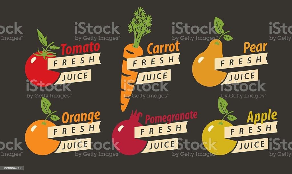 Obst mit dem Namen für frische Säfte – Vektorgrafik