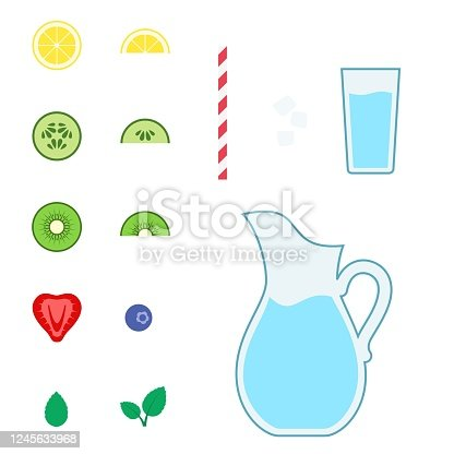 Collection of colorful fruity drink elements on a white background