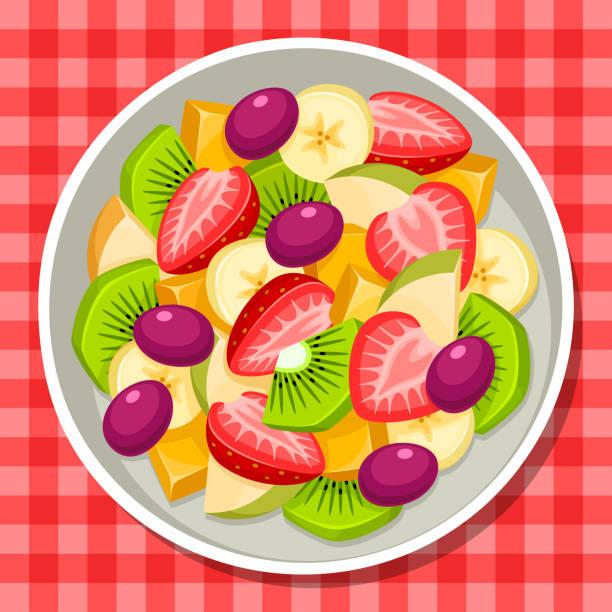 ilustrações, clipart, desenhos animados e ícones de fruktsallad - fruit salad
