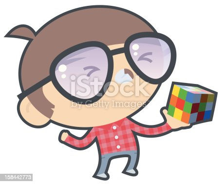 istock Frustrated Boy with Puzzle Cube 158442773