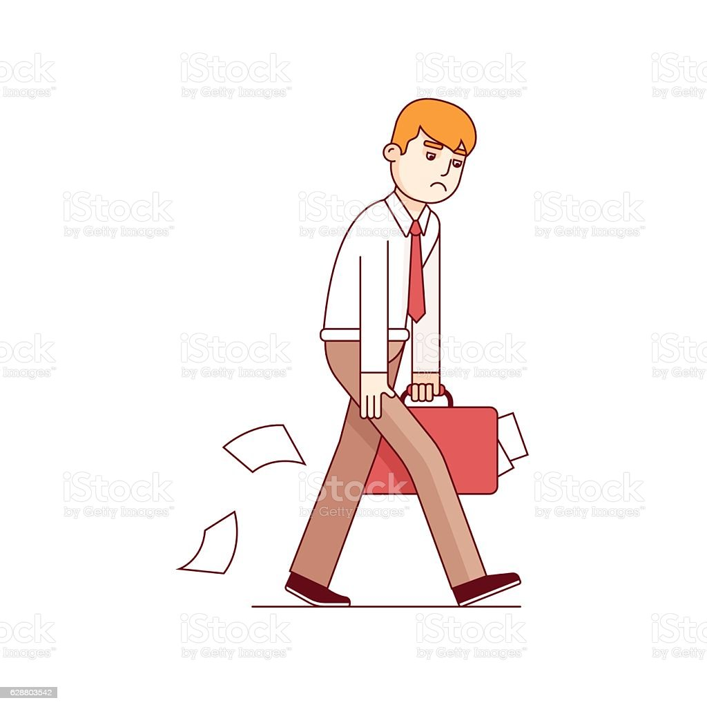 Frustrated business man walking sad vector art illustration