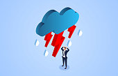 Frustrated businessman, businessman shrouded in dark clouds and lightning and rain