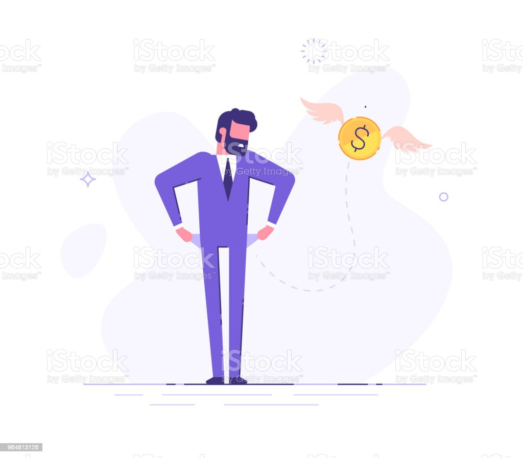 Frustrated businessman is turning out his empty pockets. Financial troubles. Flat modern illustration. royalty-free frustrated businessman is turning out his empty pockets financial troubles flat modern illustration stock vector art & more images of adult