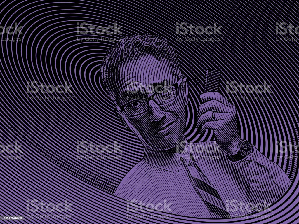 Frustrated businessman talking on mobile phone royalty-free frustrated businessman talking on mobile phone stock illustration - download image now