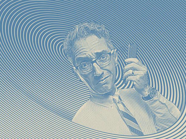 stockillustraties, clipart, cartoons en iconen met gefrustreerd zakenman praten op mobiele telefoon - dubbelopname businessman