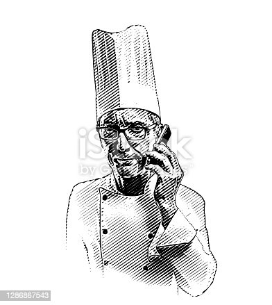 istock Frustrated chef using mobile phone 1286867543