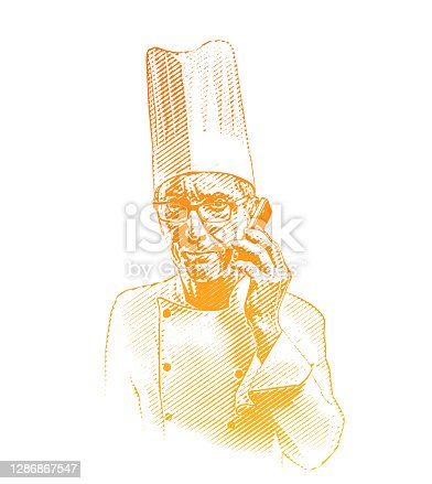 istock Frustrated chef using mobile phone 1286867547