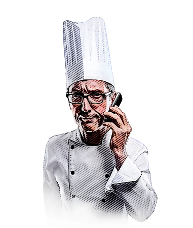 Frustrated chef using mobile phone
