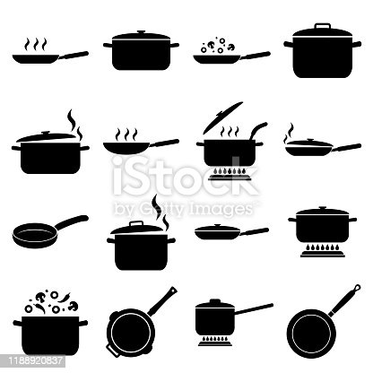 Frying pan and pan set icon, logo isolated on white background. Cooking , Roasting food