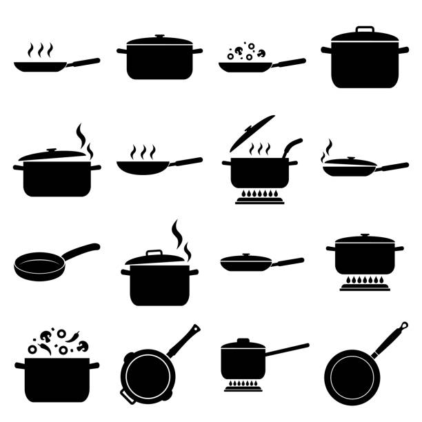 Frying pan and pan set icon, logo isolated on white background. Cooking , Roasting food Frying pan and pan set icon, logo isolated on white background. Cooking , Roasting food cooking icons stock illustrations