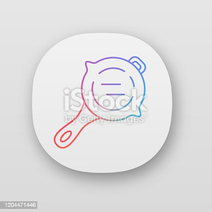 Frying pan app icon. Virtual game kitchenware. Food preparation, cooking inventory. Computer game player equipment, tool. UI/UX user interface. Web or mobile application. Vector isolated illustration
