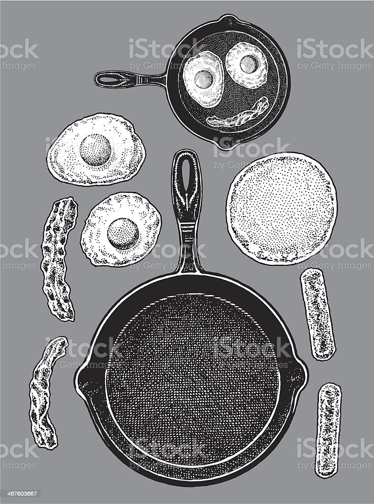 Frying Pan - Bacon, Eggs, Pancakes, Sausage royalty-free stock vector art