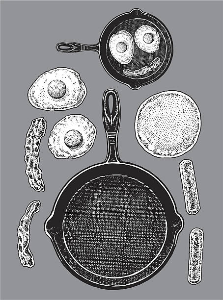 Frying Pan - Bacon, Eggs, Pancakes, Sausage Frying Pan - Bacon, Eggs, Pancakes, Sausage. Pen and ink style illustrations of a frying pan and bacon and eggs with pancake. Make your own skillet. Color changes a snap. Check out my