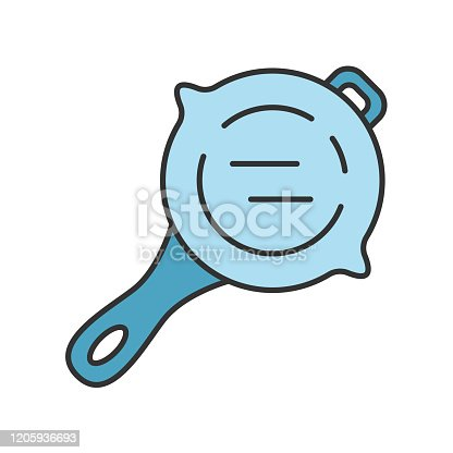 Frying pan color icon. Virtual video game stainless steel kitchenware. Food preparation, cooking inventory. Computer game player equipment, tool. Cookware. Isolated vector illustration