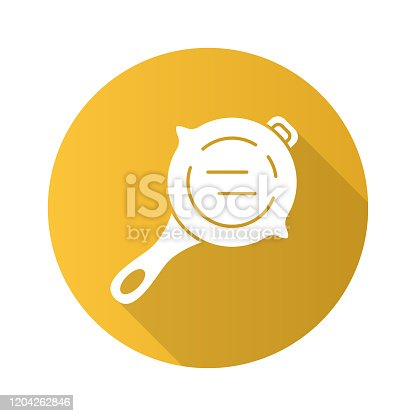 Frying pan flat design long shadow glyph icon. Virtual video game stainless steel kitchenware. Food preparation, cooking inventory. Computer game player tool. Cookware. Vector silhouette illustration