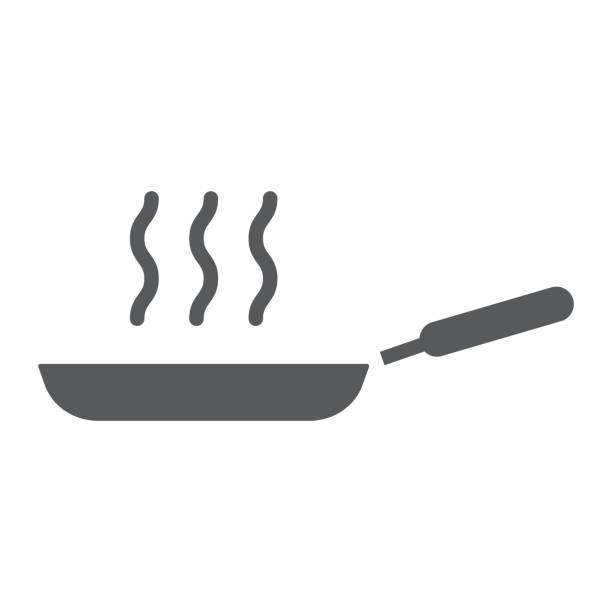Frying pan glyph icon, kitchen and cooking, fry sign vector graphics, a solid pattern on a white background, eps 10. Frying pan glyph icon, kitchen and cooking, fry sign vector graphics, a solid pattern on a white background, eps 10. frying pan stock illustrations