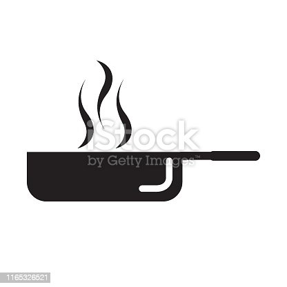 Frying pan glyph icon, kitchen and cooking,