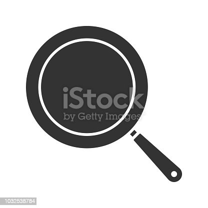 Frying pan glyph icon. Vector silhouette