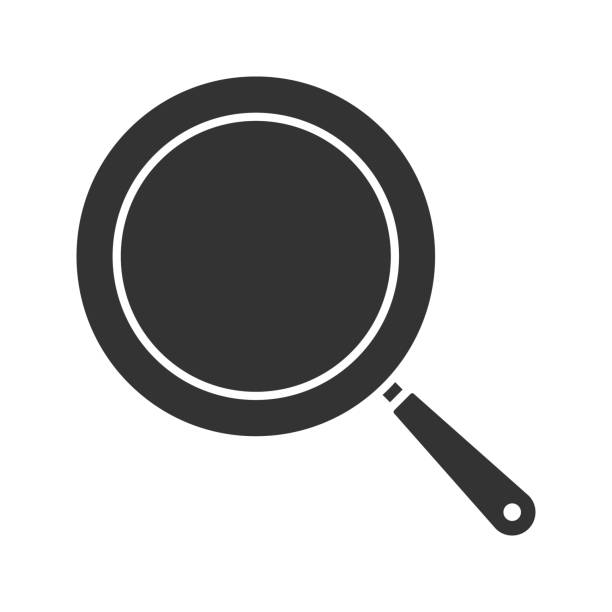 Frying pan glyph icon Frying pan glyph icon. Vector silhouette frying pan stock illustrations